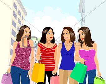Four girls shopping
