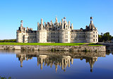 Chateau Chambord castle with reflection, Loire Valley, France