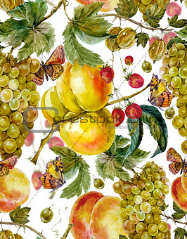 Autumn harvest watercolor seamless pattern