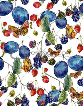 Autumn harvest watercolor seamless pattern with fruits and butte
