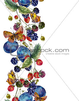 Autumn harvest watercolor seamless border with fruits and butter