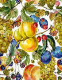 Autumn harvest seamless pattern with fruits and butterflies