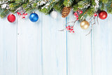 Christmas background with fir tree and decor