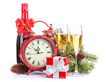 Champagne, christmas gift, clock and fir tree