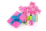 Gift box full of pink roses