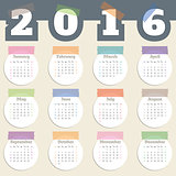 Cool calendar with color tapes and white circles for year 2016