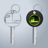 Truck keys with engraved truck tractor symbol