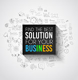 Best Solution for Your Business Slogan over a squared flat panel