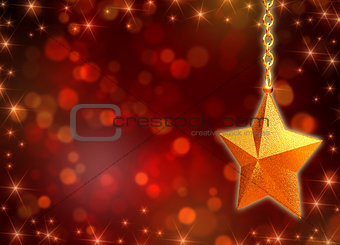 3d golden star with chains and lights