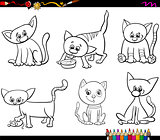 cats set cartoon coloring page