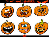 halloween pumpkins cartoon set