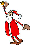 santa and christmas star cartoon