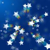 rainbow stars in blue