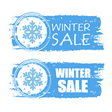 winter sale with snowflake on blue drawn banners
