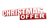 christmas offer in 3d red letters and block