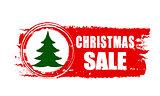 christmas sale and christmas tree on red drawn banner