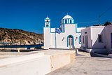 Blue White orthodox church at Firopotamos, Milos island, Greece