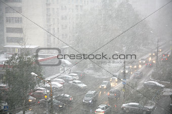 City street during a snow storm