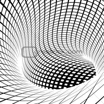 grid vortex tunnel in black and white