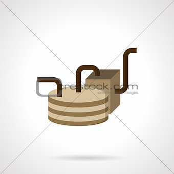 Oil delivery element flat vector icon
