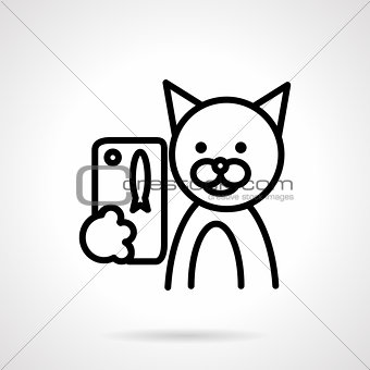 Black line cat with phone vector icon