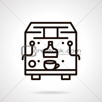 Black line coffee machine vector icon