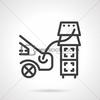 Car refilling black line vector icon