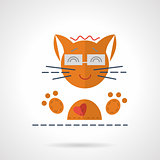 Cheerful orange cat flat vector icon