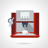 Electronic coffee machine flat vector icon