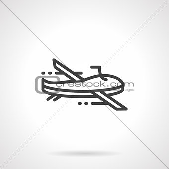 Black line military drone vector icon