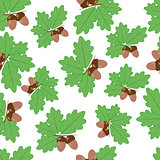 Acorns With Oak Leaves in Summer Seamless Texture