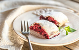 Cherry strudel with fresh mint