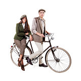 Couple on retro bike