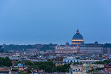St. Peter's cathedral in Rome, Italy. Dusk time