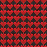 Tile vector pattern with red hearts on black background