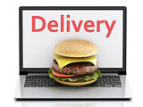 3d laptop. Online and Internet food delivery concept.