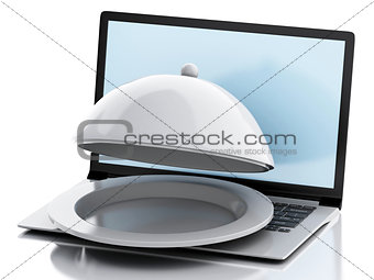 3d laptop with Restaurant cloche. Online food delivery concept.