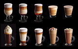 Ten coffee coctails collage set