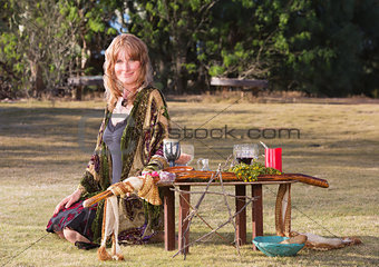 Beautiful Witch with Altar