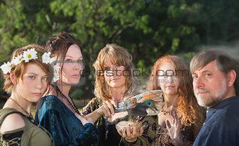Five Witches with Feather