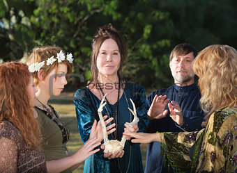 Group of Wicca People with Antlers