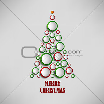 Christmas card with tree of colored circles template