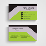 Modern business card with green gray black pattern