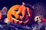 jack-o-lantern, skulls and gravestones
