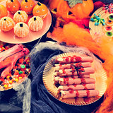 Halloween food, such as scary fingers and candies