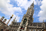 The Mariensaule, a Marian column and Munich city hall on the Mar