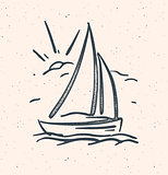 Vector illustration with hand drawn sail boat. Isolated.