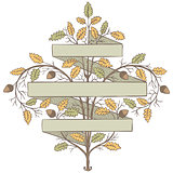 Retro hand draw decorative oak branch with ribbon. Vintage vector design