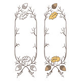 Retro hand draw decorative oak branch frame. Vintage vector design