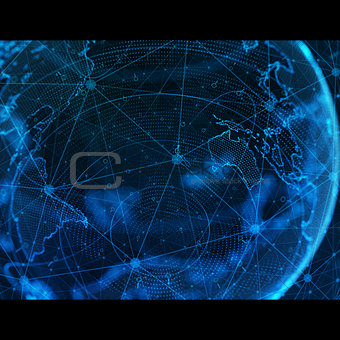 business, new technology and virtual sphere globe